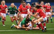 10 April 2021; Sene Naoupu of Ireland scores a try during the Women's Six Nations Rugby Championship match between Wales and Ireland at Cardiff Arms Park in Cardiff, Wales. Photo by Ben Evans/Sportsfile