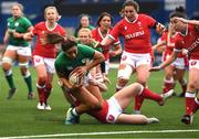 10 April 2021; Sene Naoupu of Ireland goes over to score a try during the Women's Six Nations Rugby Championship match between Wales and Ireland at Cardiff Arms Park in Cardiff, Wales. Photo by Ben Evans/Sportsfile