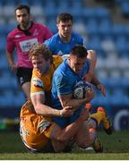 10 April 2021; Rónan Kelleher of Leinster is tackled by Jonny Gray and Tomas Francis of Exeter Chiefs during the Heineken Champions Cup Pool Quarter-Final match between Exeter Chiefs and Leinster at Sandy Park in Exeter, England. Photo by Ramsey Cardy/Sportsfile