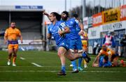 10 April 2021; James Lowe of Leinster on his way to scoring his side's first try during the Heineken Champions Cup Pool Quarter-Final match between Exeter Chiefs and Leinster at Sandy Park in Exeter, England. Photo by Ramsey Cardy/Sportsfile