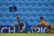 10 April 2021; Jordan Larmour of Leinster dives over to score his side's second try despite the tackle of Stuart Hogg of Exeter Chiefs during the Heineken Champions Cup Pool Quarter-Final match between Exeter Chiefs and Leinster at Sandy Park in Exeter, England. Photo by Ramsey Cardy/Sportsfile