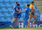 10 April 2021; Jordan Larmour of Leinster, left, celebrates with James Lowe and Luke McGrath after scoring his side's second try during the Heineken Champions Cup Pool Quarter-Final match between Exeter Chiefs and Leinster at Sandy Park in Exeter, England. Photo by Ramsey Cardy/Sportsfile