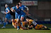 10 April 2021; Hugo Keenan of Leinster is tackled by Ben Moon, left, and Luke Cowan-Dickie of Exeter Chiefs during the Heineken Champions Cup Pool Quarter-Final match between Exeter Chiefs and Leinster at Sandy Park in Exeter, England. Photo by Ramsey Cardy/Sportsfile