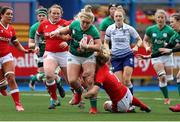 10 April 2021; Cliodhna Moloney of Ireland is tackled by Manon Johnes of Wales during the Women's Six Nations Rugby Championship match between Wales and Ireland at Cardiff Arms Park in Cardiff, Wales. Photo by Chris Fairweather/Sportsfile