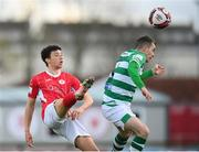 10 April 2021; Jordan Gibson of Sligo Rovers in action against Sean Kavanagh of Shamrock Rovers during the SSE Airtricity League Premier Division match between Sligo Rovers and Shamrock Rovers at The Showgrounds in Sligo. Photo by Stephen McCarthy/Sportsfile