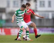 10 April 2021; Dylan Watts of Shamrock Rovers in action against Niall Morahan of Sligo Rovers during the SSE Airtricity League Premier Division match between Sligo Rovers and Shamrock Rovers at The Showgrounds in Sligo. Photo by Stephen McCarthy/Sportsfile