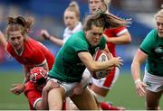 10 April 2021; Beibhinn Parsons of Ireland is tackled by Donna Rose of Wales during the Women's Six Nations Rugby Championship match between Wales and Ireland at Cardiff Arms Park in Cardiff, Wales. Photo by Chris Fairweather/Sportsfile