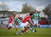 10 April 2021; Jordan Gibson of Sligo Rovers in action against Liam Scales of Shamrock Rovers during the SSE Airtricity League Premier Division match between Sligo Rovers and Shamrock Rovers at The Showgrounds in Sligo. Photo by Stephen McCarthy/Sportsfile