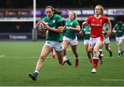 10 April 2021; Hannah Tyrrell of Ireland runs in to score a try during the Women's Six Nations Rugby Championship match between Wales and Ireland at Cardiff Arms Park in Cardiff, Wales. Photo by Chris Fairweather/Sportsfile