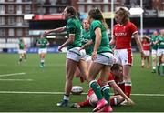 10 April 2021; Hannah Tyrrell, left, of Ireland celebrates after scoring a try during the Women's Six Nations Rugby Championship match between Wales and Ireland at Cardiff Arms Park in Cardiff, Wales. Photo by Chris Fairweather/Sportsfile