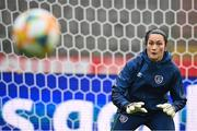 10 April 2021; Goalkeeper Eve Badana during a Republic of Ireland Women training session at King Baudouin Stadium in Brussels, Belgium. Photo by David Stockman/Sportsfile