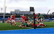 10 April 2021; Dorothy Wall of Ireland scores a try during the Women's Six Nations Rugby Championship match between Wales and Ireland at Cardiff Arms Park in Cardiff, Wales. Photo by Chris Fairweather/Sportsfile