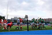 10 April 2021; Dorothy Wall of Ireland celebrates with team-mates after scoring a try during the Women's Six Nations Rugby Championship match between Wales and Ireland at Cardiff Arms Park in Cardiff, Wales. Photo by Chris Fairweather/Sportsfile