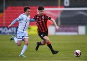 10 April 2021; Aaron Bolger of Longford Town in action against Darragh Markey of Drogheda United during the SSE Airtricity League Premier Division match between Longford Town and Drogheda United at Bishopsgate in Longford. Photo by Sam Barnes/Sportsfile
