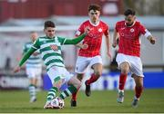 10 April 2021; Dylan Watts of Shamrock Rovers in action against Greg Bolger, right, and Niall Morahan of Sligo Rovers during the SSE Airtricity League Premier Division match between Sligo Rovers and Shamrock Rovers at The Showgrounds in Sligo. Photo by Stephen McCarthy/Sportsfile