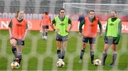 10 April 2021; Republic of Ireland players, from left, Ellen Molloy, Heather Payne, Aine O'Gorman and Kyra Carusa during a Republic of Ireland Women training session at King Baudouin Stadium in Brussels, Belgium. Photo by David Stockman/Sportsfile