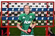 10 April 2021; Hannah Tyrrell of Ireland with the player of the match award after the Women's Six Nations Rugby Championship match between Wales and Ireland at Cardiff Arms Park in Cardiff, Wales. Photo by Ben Evans/Sportsfile