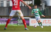 10 April 2021; Dylan Watts of Shamrock Rovers plays while holding his boot in his hand during the SSE Airtricity League Premier Division match between Sligo Rovers and Shamrock Rovers at The Showgrounds in Sligo. Photo by Stephen McCarthy/Sportsfile