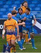 10 April 2021; Jack Conan of Leinster celebrates with James Tracy and Andrew Porter of Leinster following his side's victory in the Heineken Champions Cup Pool Quarter-Final match between Exeter Chiefs and Leinster at Sandy Park in Exeter, England. Photo by Ramsey Cardy/Sportsfile