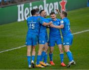 10 April 2021; Leinster players, from left, Hugo Keenan, Rory O'Loughlin, Dave Kearney, Hugh O'Sullivan and Jordan Larmour celebrate a try which is subsequently disallowed during the Heineken Champions Cup Pool Quarter-Final match between Exeter Chiefs and Leinster at Sandy Park in Exeter, England. Photo by Ramsey Cardy/Sportsfile