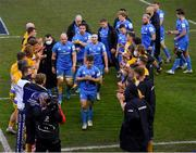 10 April 2021; Luke McGrath of Leinster and team-mates are applauded by Exeter Chiefs players following their side's victory in the Heineken Champions Cup Pool Quarter-Final match between Exeter Chiefs and Leinster at Sandy Park in Exeter, England. Photo by Ramsey Cardy/Sportsfile