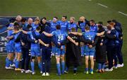 10 April 2021; Leinster players huddle following their side's victory in the Heineken Champions Cup Pool Quarter-Final match between Exeter Chiefs and Leinster at Sandy Park in Exeter, England. Photo by Ramsey Cardy/Sportsfile