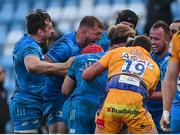 10 April 2021; Leinster players celebrate a penalty during the Heineken Champions Cup Pool Quarter-Final match between Exeter Chiefs and Leinster at Sandy Park in Exeter, England. Photo by Ramsey Cardy/Sportsfile