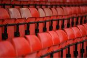 9 April 2021; A view of seats in Tolka Park before the SSE Airtricity League First Division match between Shelbourne and Wexford at Tolka Park in Dublin Photo by Eóin Noonan/Sportsfile
