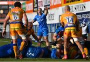 10 April 2021; James Lowe of Leinster during the Heineken Champions Cup Pool Quarter-Final match between Exeter Chiefs and Leinster at Sandy Park in Exeter, England. Photo by Ramsey Cardy/Sportsfile