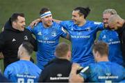 10 April 2021; Leinster players, from left, Cian Healy, Rory O'Loughlin, James Lowe, Andrew Porter and Scott Fardy following their side's victory in the Heineken Champions Cup Pool Quarter-Final match between Exeter Chiefs and Leinster at Sandy Park in Exeter, England. Photo by Ramsey Cardy/Sportsfile