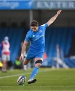 10 April 2021; Ross Byrne of Leinster kicks a conversion during the Heineken Champions Cup Pool Quarter-Final match between Exeter Chiefs and Leinster at Sandy Park in Exeter, England. Photo by Ramsey Cardy/Sportsfile