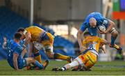 10 April 2021; Devin Toner of Leinster is tackled by Sam Simmonds of Exeter Chiefs during the Heineken Champions Cup Pool Quarter-Final match between Exeter Chiefs and Leinster at Sandy Park in Exeter, England. Photo by Ramsey Cardy/Sportsfile