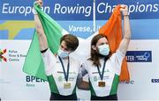 11 April 2021; Fintan McCarthy and Paul O'Donovan of Ireland celebrate with their gold medals after the Lightweight Men's Double Sculls A Final during Day 3 of the European Rowing Championships 2021 at Varese in Italy. Photo by Roberto Bregani/Sportsfile