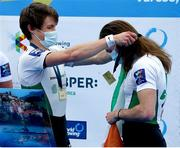 11 April 2021; Fintan McCarthy, left, and Paul O'Donovan of Ireland celebrate with their gold medals after the Lightweight Men's Double Sculls A Final during Day 3 of the European Rowing Championships 2021 at Varese in Italy. Photo by Roberto Bregani/Sportsfile