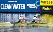 11 April 2021; Fintan McCarthy, left, and Paul O'Donovan of Ireland cross the finish line to win the Lightweight Men's Double Sculls A Final during Day 3 of the European Rowing Championships 2021 at Varese in Italy. Photo by Roberto Bregani/Sportsfile