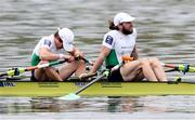 11 April 2021; Fintan McCarthy, left, and Paul O'Donovan of Ireland after winning the Lightweight Men's Double Sculls A Final during Day 3 of the European Rowing Championships 2021 at Varese in Italy. Photo by Roberto Bregani/Sportsfile