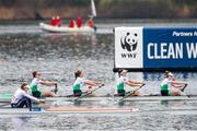 11 April 2021; Ireland rowers, from left, Aifric Keogh, Eimear Lambe, Fiona Murtagh and Emily Hegarty compete in the Women's Four A Final during Day 3 of the European Rowing Championships 2021 at Varese in Italy. Photo by Roberto Bregani/Sportsfile