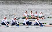 11 April 2021; Ireland rowers, from left, Aifric Keogh, Eimear Lambe, Fiona Murtagh and Emily Hegarty after finishing second in the Women's Four A Final during Day 3 of the European Rowing Championships 2021 at Varese in Italy. Photo by Roberto Bregani/Sportsfile