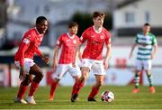 10 April 2021; Niall Morahan and Romeo Parkes, left, of Sligo Rovers during the SSE Airtricity League Premier Division match between Sligo Rovers and Shamrock Rovers at The Showgrounds in Sligo. Photo by Stephen McCarthy/Sportsfile