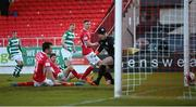 10 April 2021; Rory Gaffney of Shamrock Rovers scores his side's goal during the SSE Airtricity League Premier Division match between Sligo Rovers and Shamrock Rovers at The Showgrounds in Sligo. Photo by Stephen McCarthy/Sportsfile