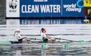 11 April 2021; Aoife Casey, left, and Margaret Cremen of Ireland on their way to finishing fifth in the Lightweight Women's Double Sculls A Final during Day 3 of the European Rowing Championships 2021 at Varese in Italy. Photo by Roberto Bregani/Sportsfile