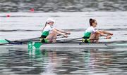 11 April 2021; Aoife Casey, left, and Margaret Cremen of Ireland compete in the Lightweight Women's Double Sculls A Final during Day 3 of the European Rowing Championships 2021 at Varese in Italy. Photo by Roberto Bregani/Sportsfile