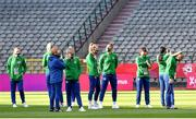 11 April 2021; Republic of Ireland players walk the pitch before the women's international friendly match between Belgium and Republic of Ireland at King Baudouin Stadium in Brussels, Belgium. Photo by David Catry/Sportsfile