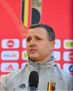 11 April 2021; Belgium head coach Ives Serneels is interviewed before the women's international friendly match between Belgium and Republic of Ireland at King Baudouin Stadium in Brussels, Belgium. Photo by David Catry/Sportsfile