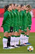 11 April 2021; Republic of Ireland players, including captain Katie McCabe, left, before the women's international friendly match between Belgium and Republic of Ireland at King Baudouin Stadium in Brussels, Belgium. Photo by David Catry/Sportsfile