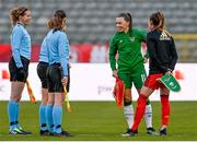 11 April 2021; Team captains Tessa Wullaert of Belgium, right, and Katie McCabe of Republic of Ireland in conversation with the match officials before the women's international friendly match between Belgium and Republic of Ireland at King Baudouin Stadium in Brussels, Belgium. Photo by David Catry/Sportsfile