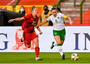 11 April 2021; Katie McCabe of Republic of Ireland in action against Laura Deloose of Belgium during the women's international friendly match between Belgium and Republic of Ireland at King Baudouin Stadium in Brussels, Belgium. Photo by David Catry/Sportsfile