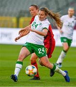 11 April 2021; Kyra Carusa of Republic of Ireland in action against Lenie Onzia of Belgium during the women's international friendly match between Belgium and Republic of Ireland at King Baudouin Stadium in Brussels, Belgium. Photo by David Catry/Sportsfile