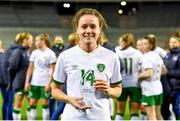 11 April 2021; Heather Payne of Republic of Ireland with her Carlsberg Player of the Match award after the women's international friendly match between Belgium and Republic of Ireland at King Baudouin Stadium in Brussels, Belgium. Photo by David Catry/Sportsfile