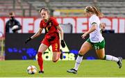 11 April 2021; Tessa Wullaert of Belgium in action against Ruesha Littlejohn of Republic of Ireland during the women's international friendly match between Belgium and Republic of Ireland at King Baudouin Stadium in Brussels, Belgium. Photo by David Catry/Sportsfile